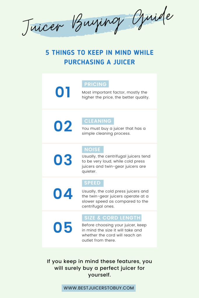 5 things to keep in mind while purchasing a juicer